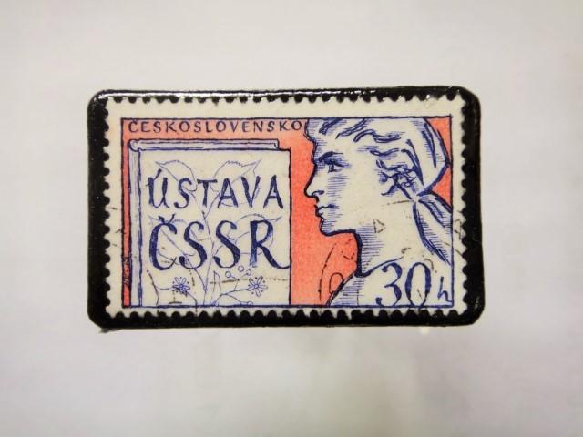 チェコスロバキア 切手ブローチ1153