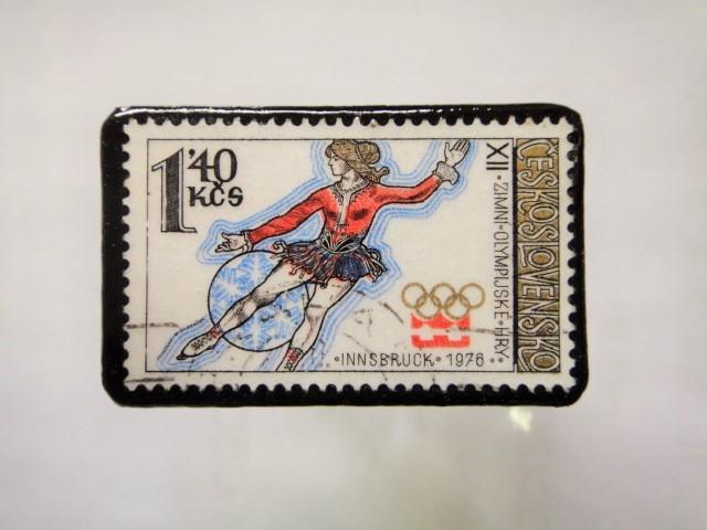 チェコスロバキア 切手ブローチ1155