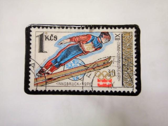 チェコスロバキア 切手ブローチ1156