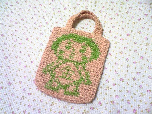麻ひもで編んだ金太郎ミニバッグ