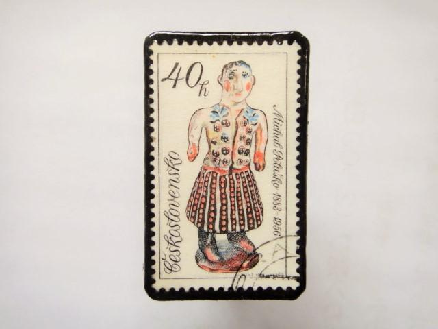 チェコスロバキア 切手ブローチ1159
