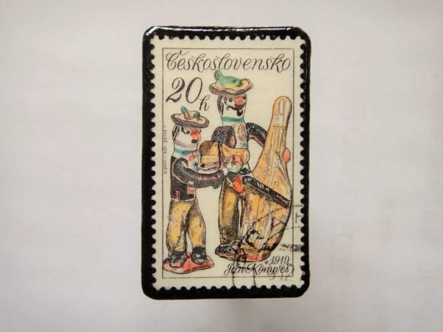チェコスロバキア 切手ブローチ1160