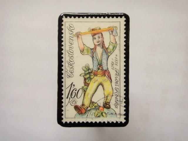 チェコスロバキア 切手ブローチ1161