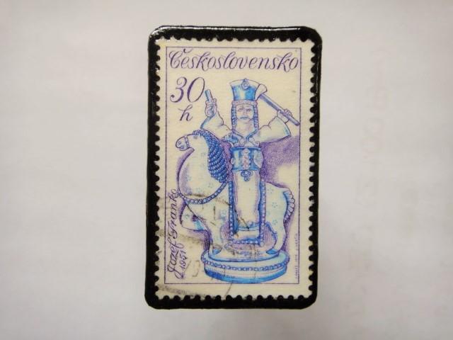 チェコスロバキア 切手ブローチ1163