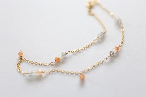 (14kgf)宝石質マルチムーンストーンアンクレット[ar071]