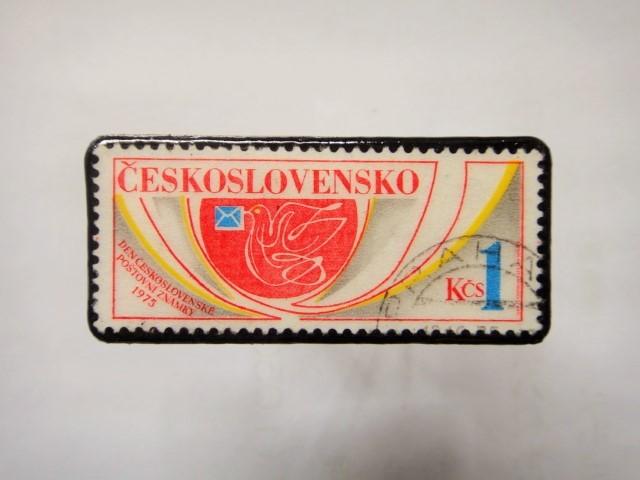 チェコスロバキア 切手ブローチ1176