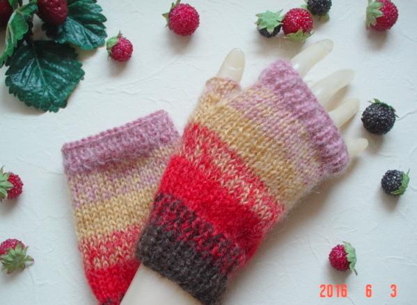 ☆彡鮮やか発色シンプルな指なし手袋(ハマナカ製モヘア)