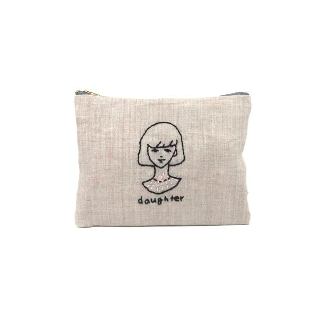 【リネン】刺繍ポーチ【daughter】