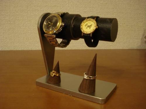 ブラックコルクペア連結腕時計スタンド リングスタンドバージョン