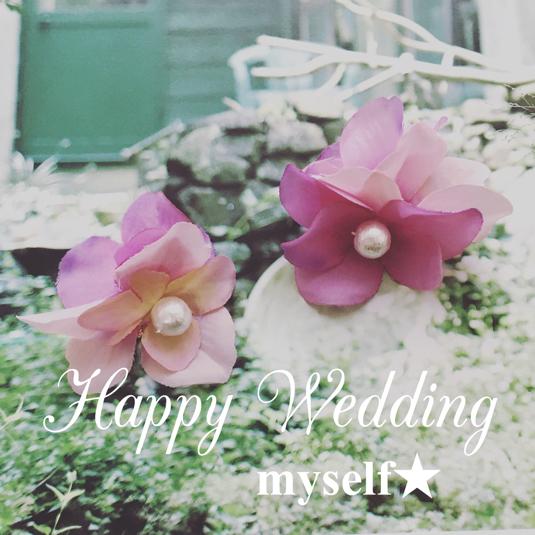ピンク紫陽花のイヤリング(ピアス)