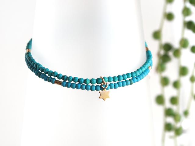 14KGF Turquoise Medai Bracelet
