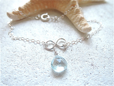 infinity with blue topaz    silver925ブレスレット