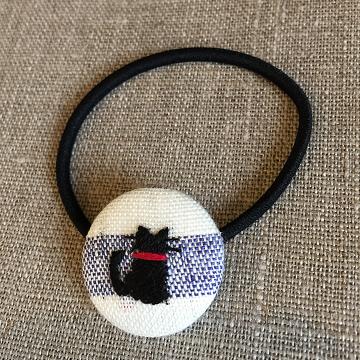 刺繍ヘアゴム『黒猫』