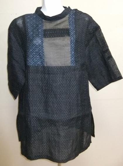 着物リメイク 麻の上布と夏大島で作ったプルオーバー  1497