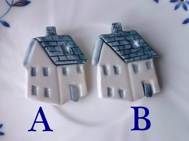 陶ブローチ-青い屋根の家