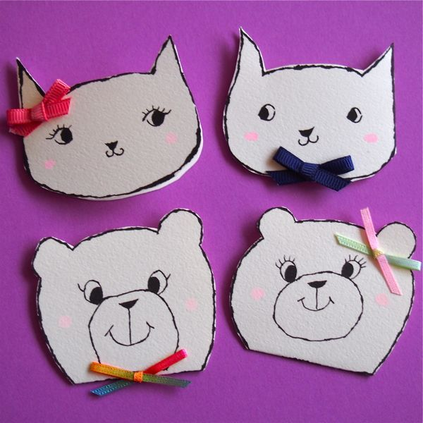 ANIMAL MINI CARD -CAT & BEAR  4PC SET-