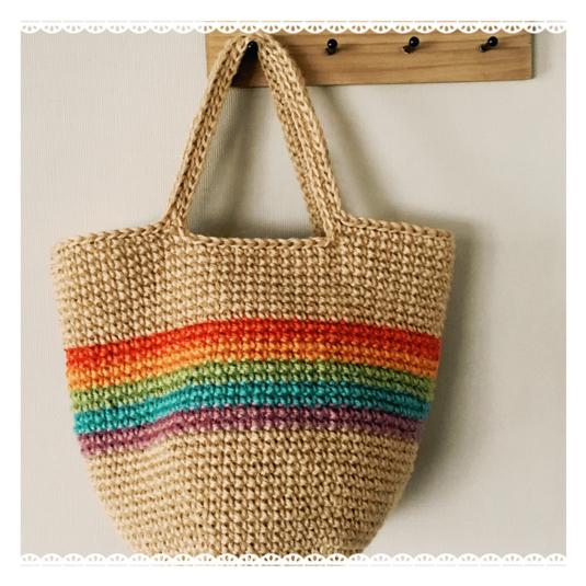 《受注製作》虹色麻ひもバッグ