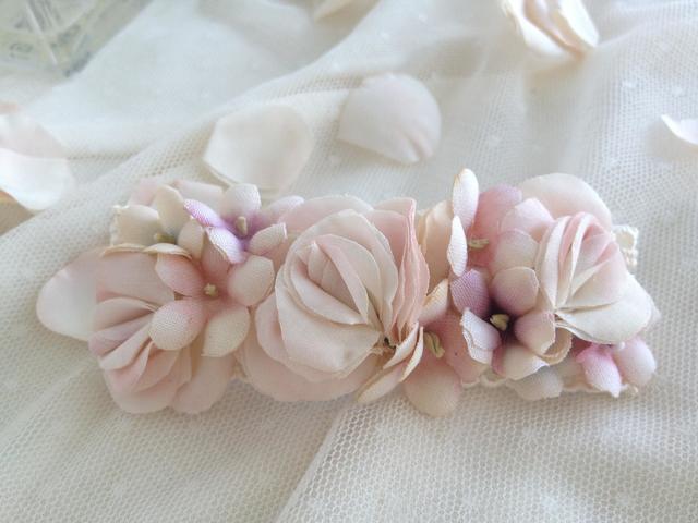 sale**FLORA::バラとすみれのバレッタ#pastel