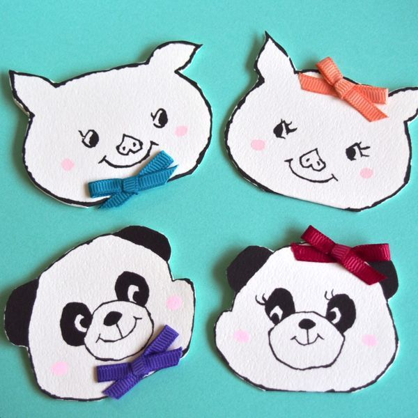 ANIMAL MINI CARD -PIG & PANDA  4PC SET-