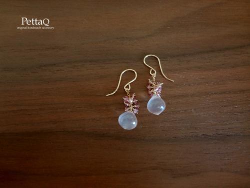 【14KGF】宝石質ローズクォーツ・ウンバライト・ピンクサファイアのピアス