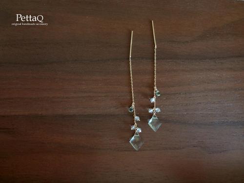 【14KGF】宝石質グリーンアメジスト・グリーンサファイア・ホワイトトパーズのアメリカンピアス