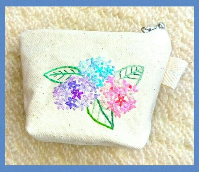 紫陽花のミニミニポーチ(手刺繍)