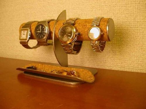 誕生日プレゼントに 腕時計4本掛けロングトレイ付きハーフムーン腕時計スタンド