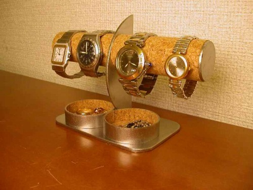 腕時計スタンド 腕時計4本掛け丸トレイ付きハーフムーン腕時計スタンド