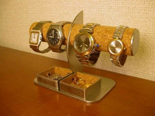 腕時計4本掛け角トレイ付きハーフムーン腕時計スタンド