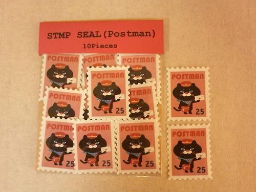切手型水貼りシール(ねこの郵便屋さん・ピンク)