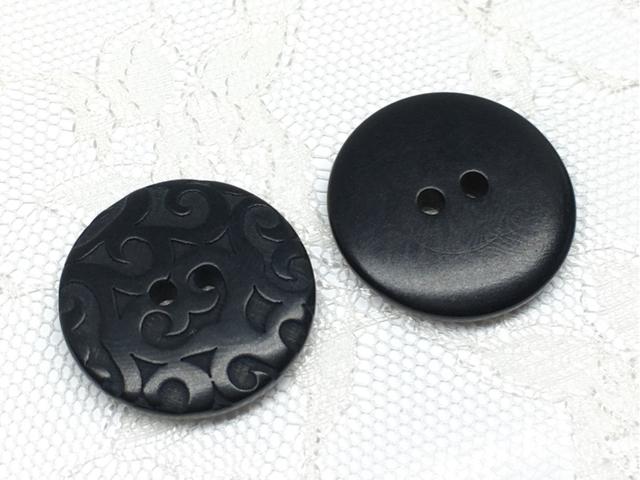 ボタン:平丸型(M)/ブラック/2コ入<67>