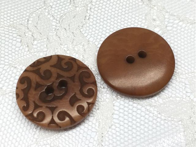 ボタン:平丸型(M)/ブラウン/2コ入<65>