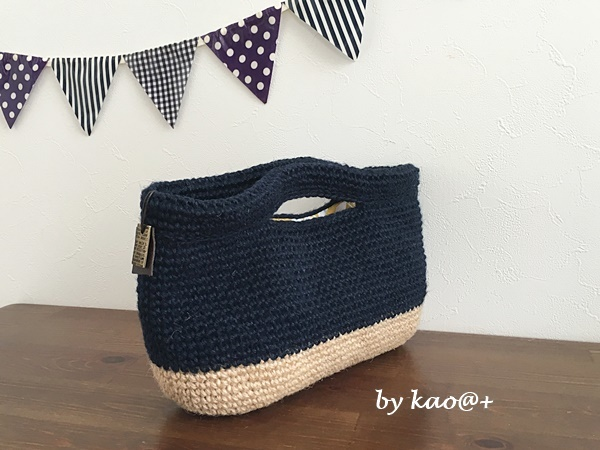 bi-color 麻ひもバッグ(navy・square type)