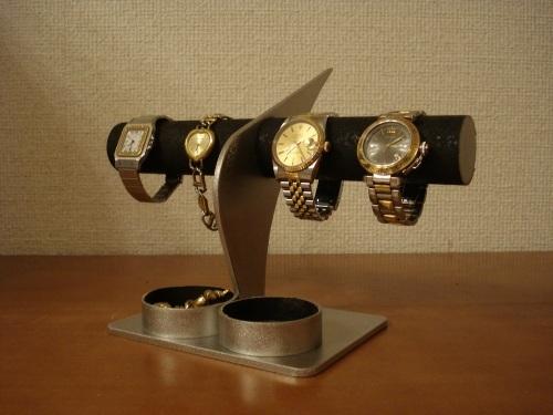 ブラックコルク4本掛けデザイン腕時計スタンド 丸トレイ