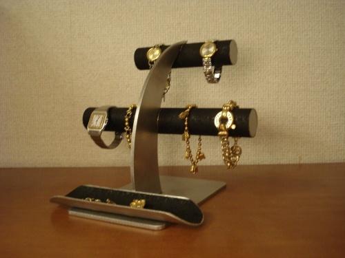 ブラック6本掛けロングハーフパイプトレイ腕時計スタンド