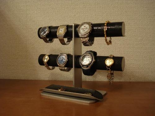 ブラック8本掛けロングハーフパイプトレイインテリア腕時計スタンド