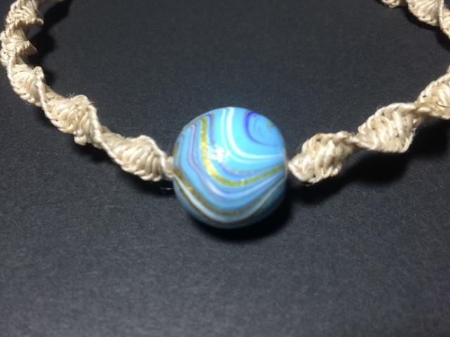 国産ヘンプのねじり結びネックレス(水色)