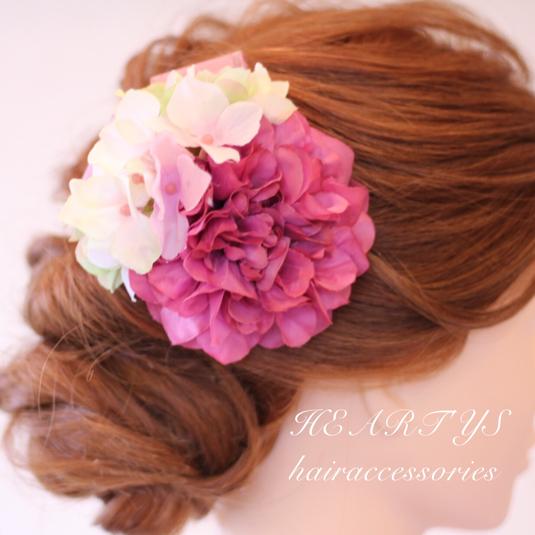 *浴衣にもオススメ!ピンクモーブダリアとアリスのフェミニンな髪飾り♪【送料無料】