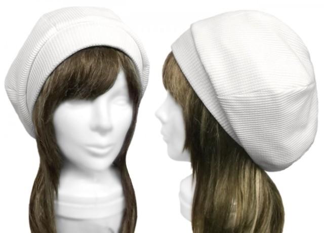 ワッフルコットンニット/リブ付ベレー帽(ゆったり)◆白