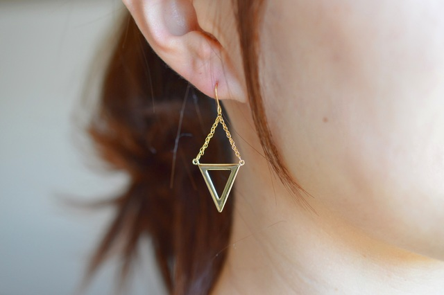 【14KGF】 triangle gold earrings