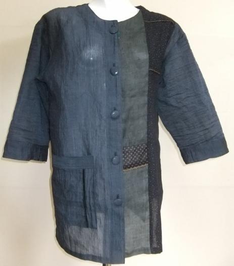 着物リメイク 小千谷縮と綿の着物で作ったジャケット  1407