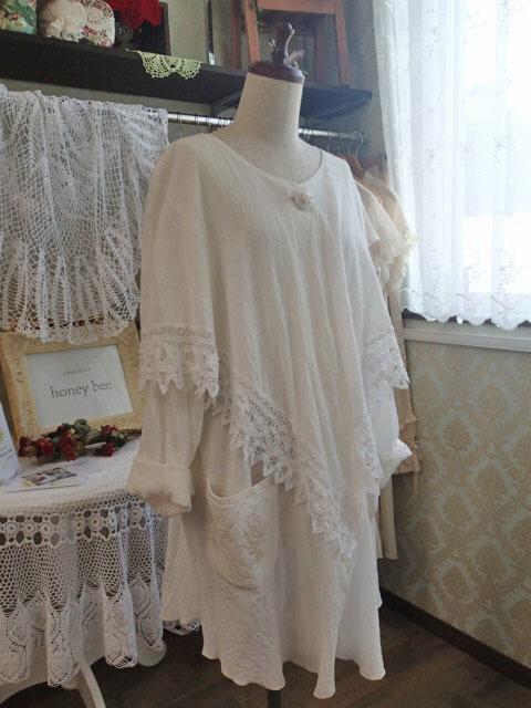 バテンレースと手縫い刺繍のポンチョカーディガン
