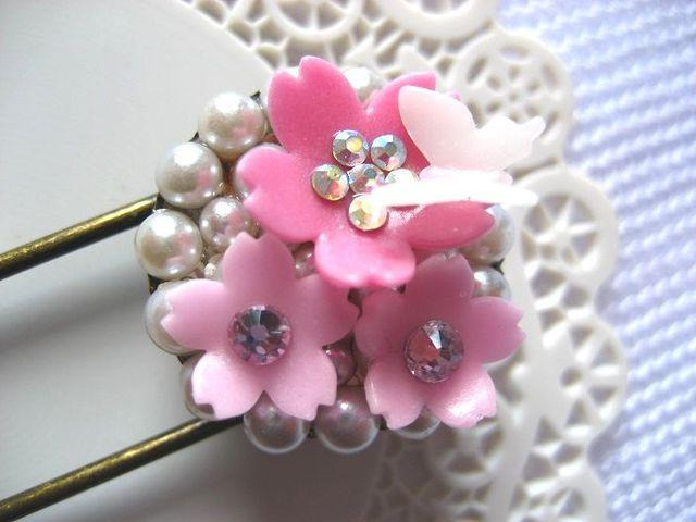 桜小路 桜と蝶のパールブローチ