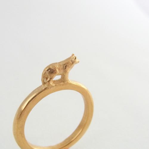 森のリング(オオカミ)ゴールド