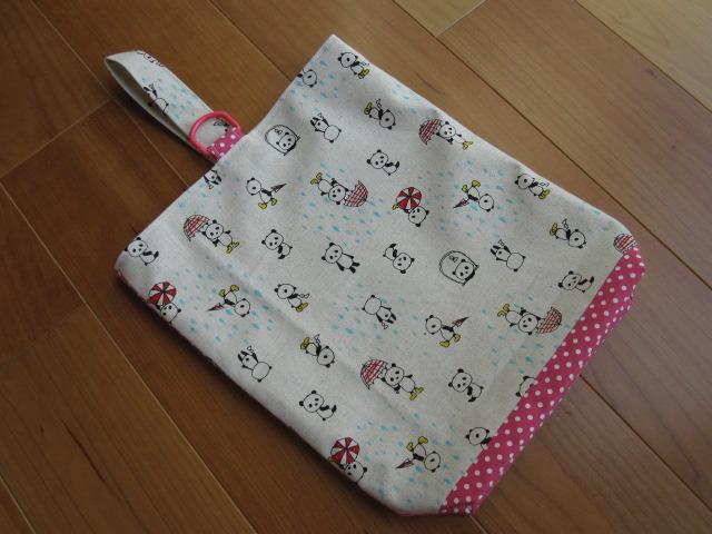 escargot21様オーダー品 キッズ シューズケース(パンダ、ピンク水玉)