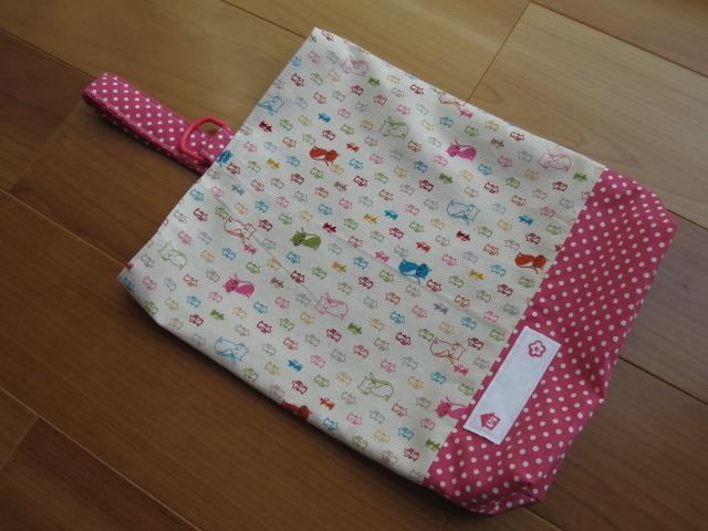 【値下げ】入園入学に!キッズ シューズケース(猫とねずみ、ピンク水玉)