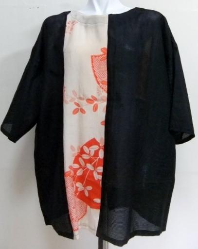 着物リメイク 絽と縮緬の着物で作ったプルオーバー 1513
