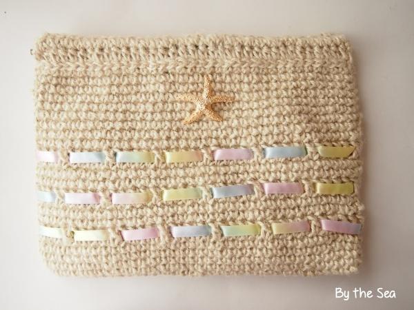 麻紐×パステルレインボー スターフィッシュ 編み クラッチバッグ