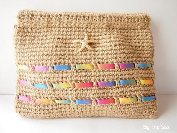 麻紐×レインボー スターフィッシュ 編み クラッチバッグ