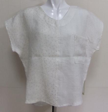 着物リメイク 麻の白絣で作ったTシャツ 1515